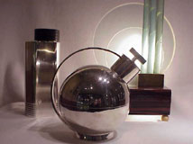 Modernist lamp, France, and cocktail shakers, Sweden, 1930